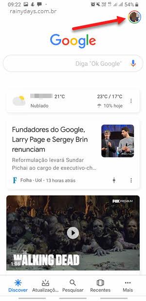 ícone da foto canto superior direito app Google