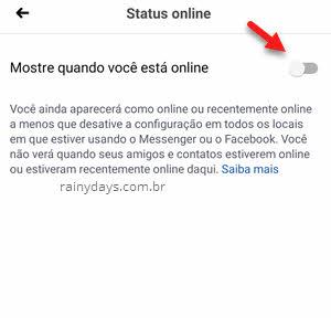 Status online Mostre quando está online Facebook app