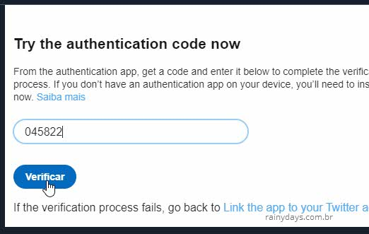 Testar código de autenticação com app gerador no Twitter duas etapas