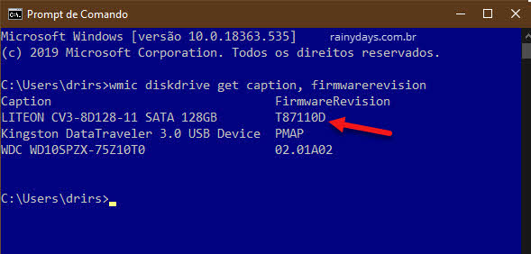 verificar versão do firmware SSD e atualizar firmware SSD