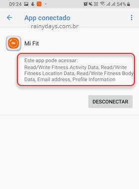como ver os apps conectados ao Google Fit permissões