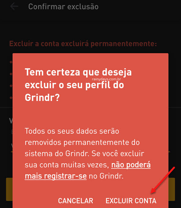 excluir conta no app Grindr permanente