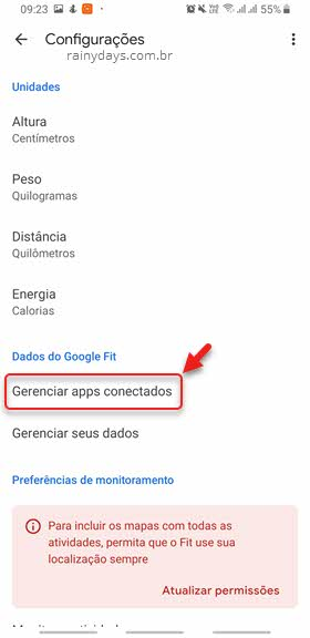 gerenciar apps conectados no Google Fit