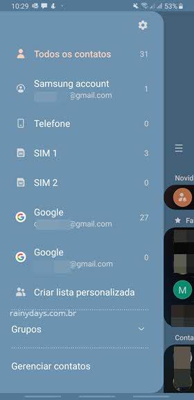 menu lateral configurações app Contatos Android