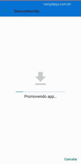 promovendo app intalação app desconhecido no Messenger Facebook