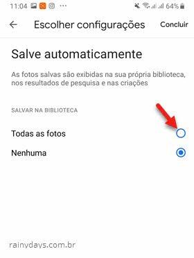Salvar automaticamente todas as fotos de uma biblioteca em outra Google Fotos