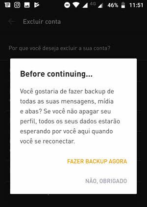 selecione se quer fazer backup ou nao app Grindr