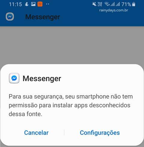 Vírus atualização do Messenger apps desconhecidos dessa fonte