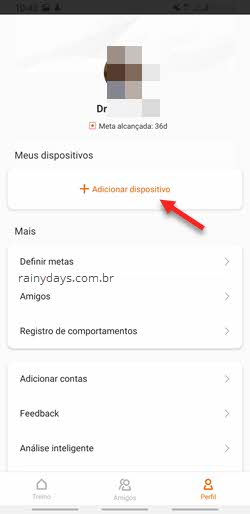 Adicionar dispositivo pulseira Mi Band no app Mi Fit