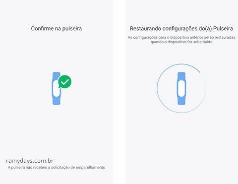 app mi fit confirme na pulseira restaurando configurações de fábrica