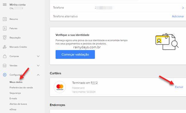 Como remover cartão do Mercado Pago, excluir cartão de crédito