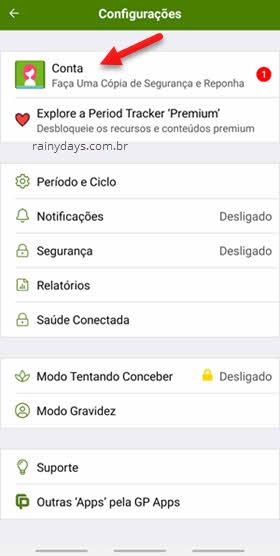configurações conta PTracker app Android