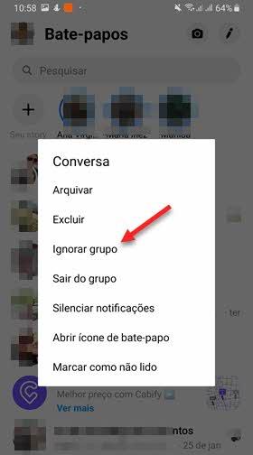 conversa ignorar grupo app Messenger