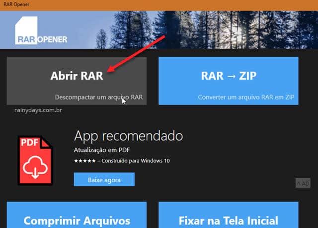 Descompactar arquivo rar com app RAR Opener loja Windows