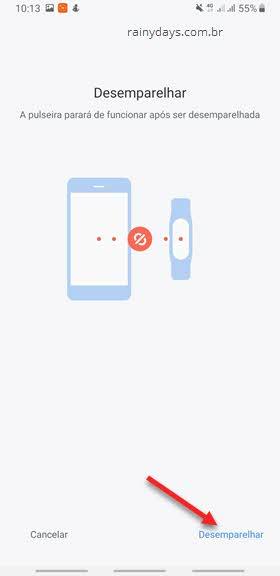 desemparelhar pulseira Xiaomi do app Mi Fit