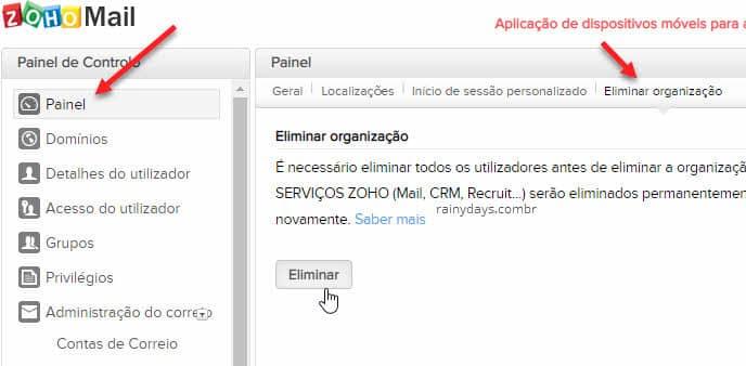 Excluir conta do Zoho organização, Zoho Mail