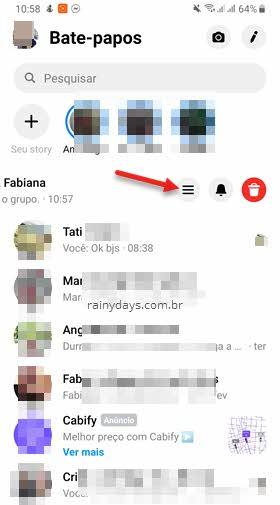 ícone três traçcos tocar conversa app Messenger