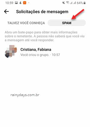 Mensagens SPAM solicitações de mensagem app Messenger