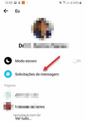 Solicitações de mensagem no app Messenger