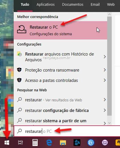 botão iniciar restaurar o PC formatar Windows