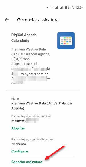 cancelar assinatura na Google Play