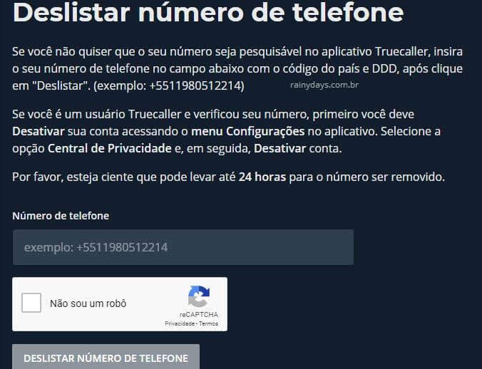 Como remover telefone e nome do Truecaller