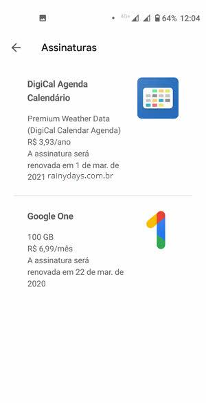 gerenciar assinaturas da Google Play