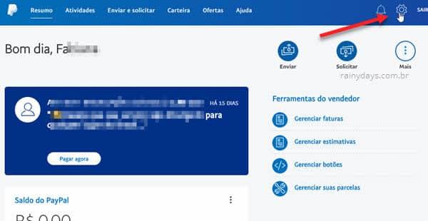 ícone engrenagem configurações site PayPal