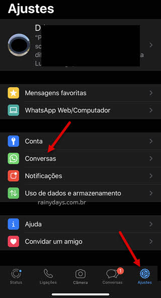Ajustes conversas WhatsApp iPhone