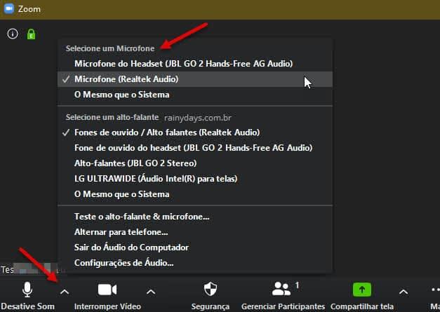 alterar microfone na reunião no Zoom Windows quando não funciona