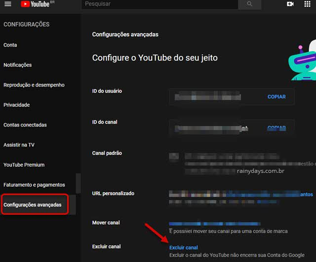 configurações avançadas excluir canal do YouTube