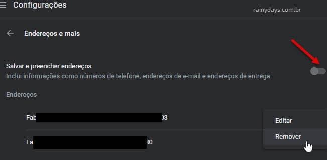 Configurações Chrome desativar preenchimento automático endereços, email, telefone