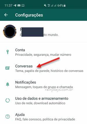 Configurações Conversas app WhatsApp Android