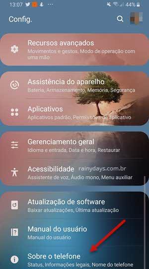 configurações Sobre o telefone Android