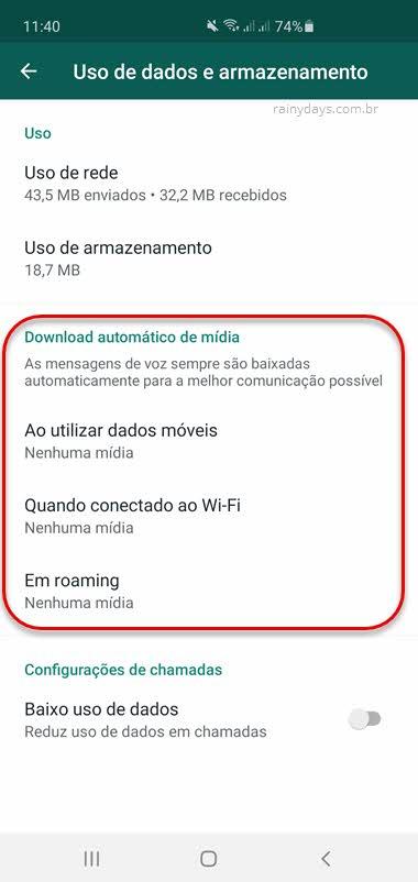 Desativar download automático de mídia no WhatsApp fotos, vídeos