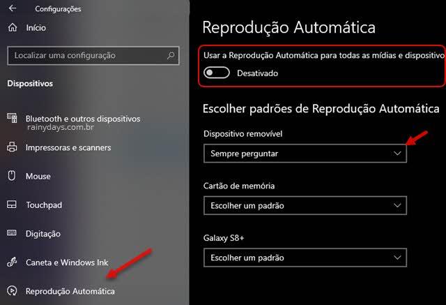 Desativar reprodução automática de mídias e dispositivos no Windows