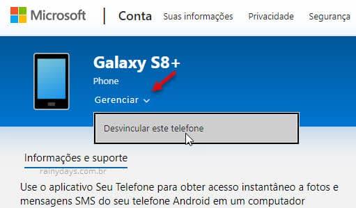 Desvincular celular do computador Windows na conta Microsoft