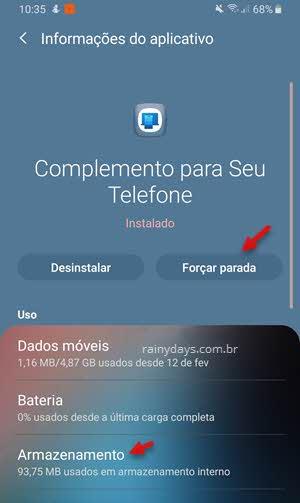 forçar parada app Complemento para Seu Telefone Windows