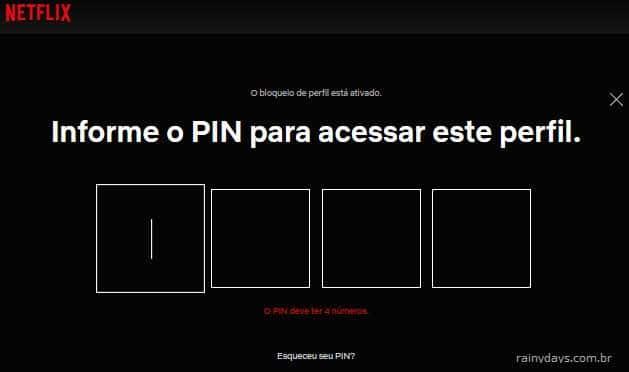Perfil bloqueado com senha PIN no Netflix