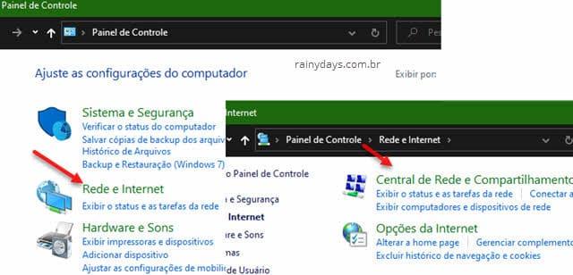 Rede e internet, Central de rede e compartilhamento Painel de Controle Windows