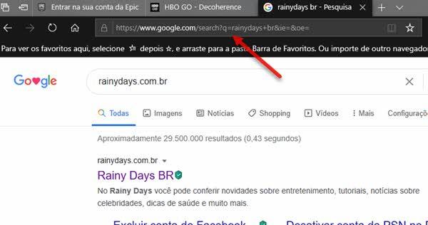usar Google como busca padrão do Microsoft Edge