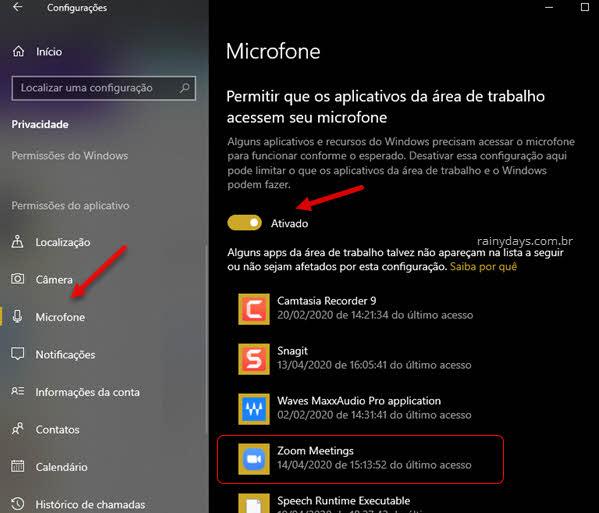 Verificar aplicativos autorizados no microfone do Windows quando microfone não funciona