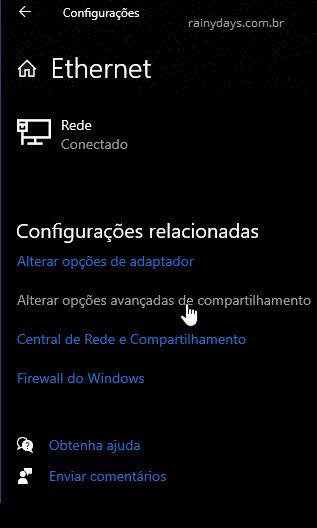 Alterar opções avançadas de compartilhamento de rede Windows