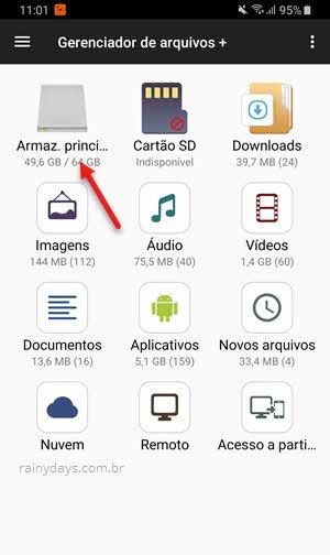armazenamneto principal app Gerenciador de arquivos Android