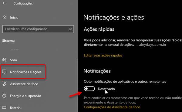 Como desativar as notificações do Windows
