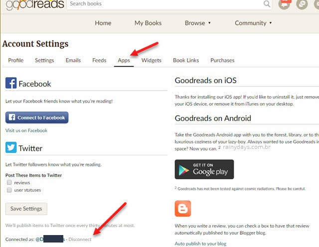 Como desconectar sites e apps do Goodreads