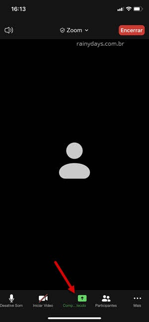 Compartilhar tela com som Zoom iPhone