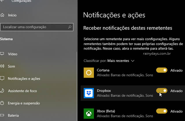 Desativar notificações para prograams específicos no Windows