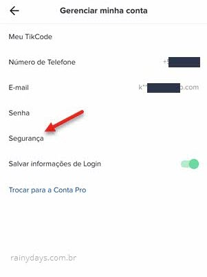 Gerenciar minha conta segurança TikTok app