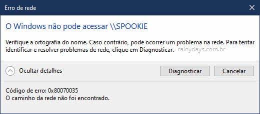 O Windows não pode acessar rede verifique ortografia erro
